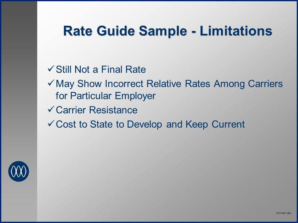 Milliman USA Rate Guide Sample - Limitations Still Not a Final Rate May Show Incorrect Relative Rates Among Carriers for Particular Employer Carrier Resistance Cost to State to Develop and Keep Current