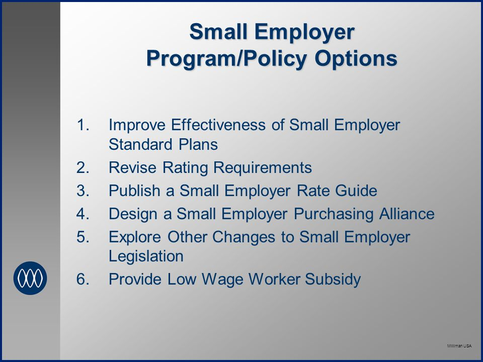 Milliman USA Small Employer Program/Policy Options  Improve Effectiveness of Small Employer Standard Plans  Revise Rating Requirements  Publish a Small Employer Rate Guide  Design a Small Employer Purchasing Alliance  Explore Other Changes to Small Employer Legislation  Provide Low Wage Worker Subsidy