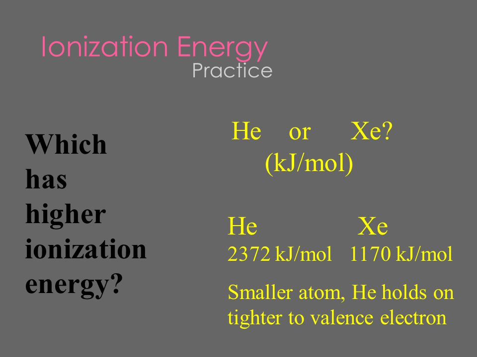 I D  Energy needed to remove a loosely held electron from an atom  Increases as you move across a period Nonmetals hold onto their electrons tighter Atom is smaller, so nucleus is closer to valence electron making it harder to remove.