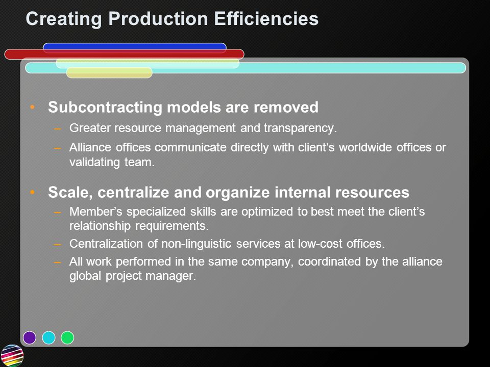 Creating Production Efficiencies Subcontracting models are removed –Greater resource management and transparency.