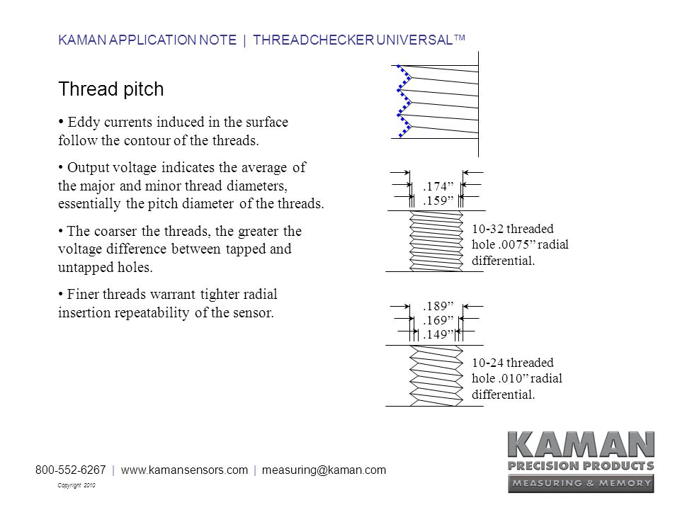 800-552-6267 | www.kamansensors.com | measuring@kaman.com Copyright 2010 KAMAN APPLICATION NOTE | THREADCHECKER UNIVERSAL™ Thread pitch Eddy currents