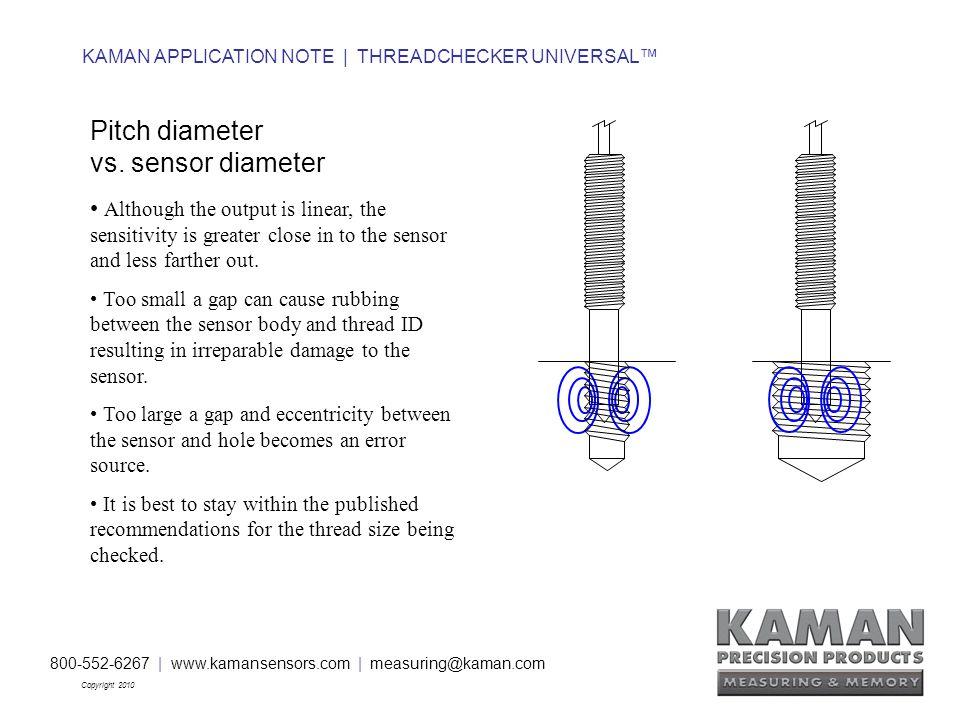 800-552-6267 | www.kamansensors.com | measuring@kaman.com Copyright 2010 KAMAN APPLICATION NOTE | THREADCHECKER UNIVERSAL™ Pitch diameter vs.