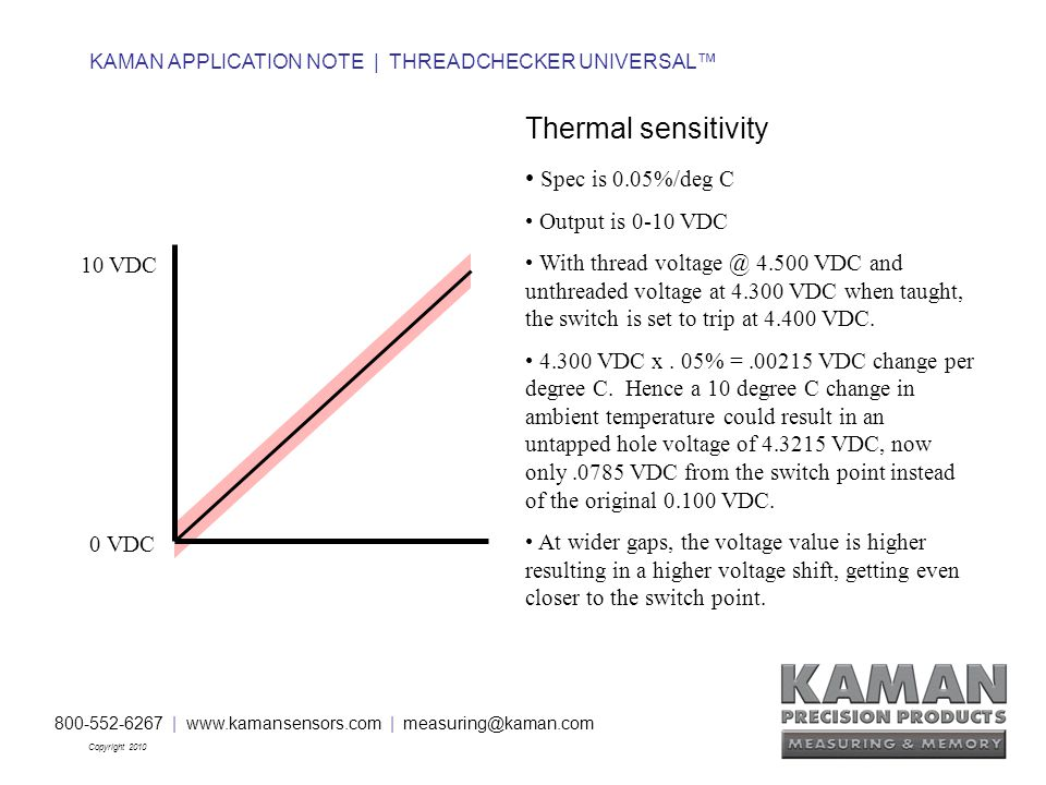 800-552-6267 | www.kamansensors.com | measuring@kaman.com Copyright 2010 KAMAN APPLICATION NOTE | THREADCHECKER UNIVERSAL™ Thermal sensitivity Spec is