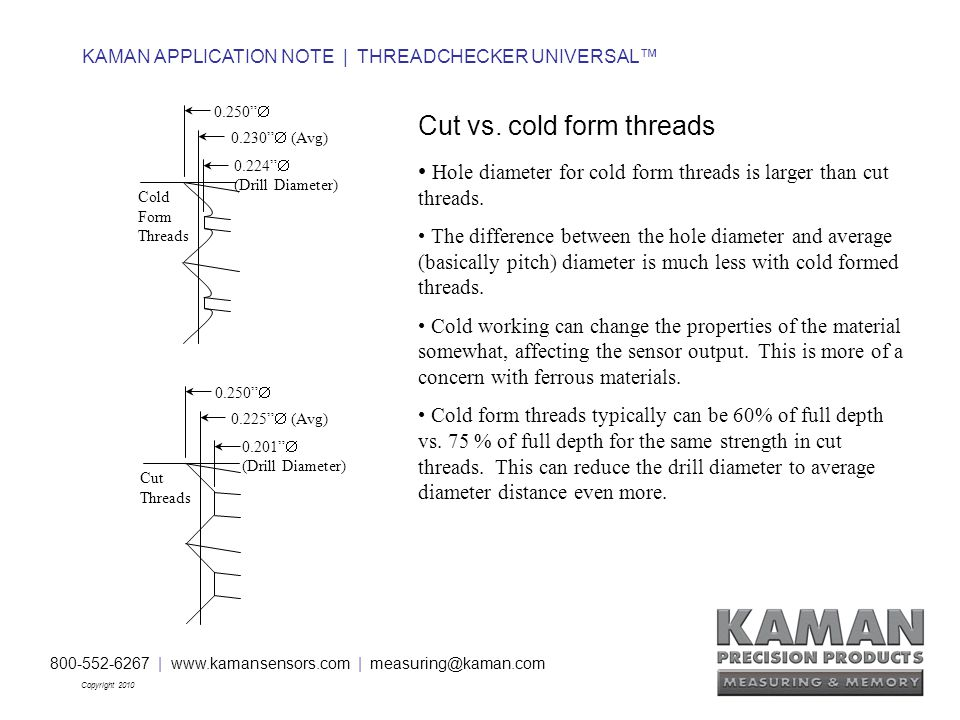 800-552-6267 | www.kamansensors.com | measuring@kaman.com Copyright 2010 KAMAN APPLICATION NOTE | THREADCHECKER UNIVERSAL™ Cut vs. cold form threads H