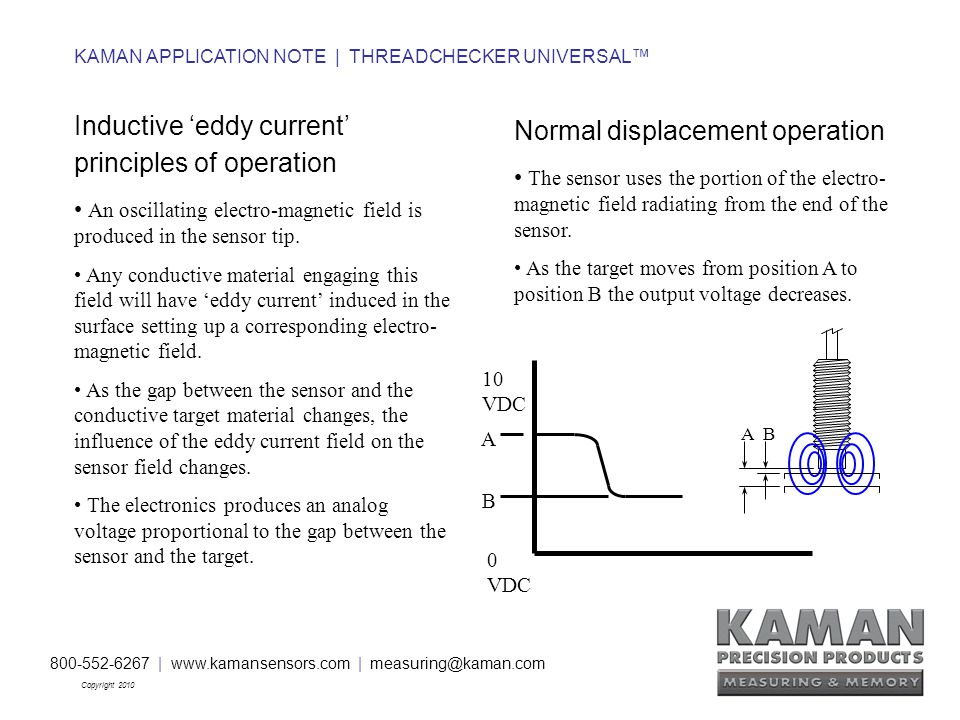 800-552-6267 | www.kamansensors.com | measuring@kaman.com Copyright 2010 KAMAN APPLICATION NOTE | THREADCHECKER UNIVERSAL™ 0 VDC 10 VDC A B Normal displacement operation The sensor uses the portion of the electro- magnetic field radiating from the end of the sensor.