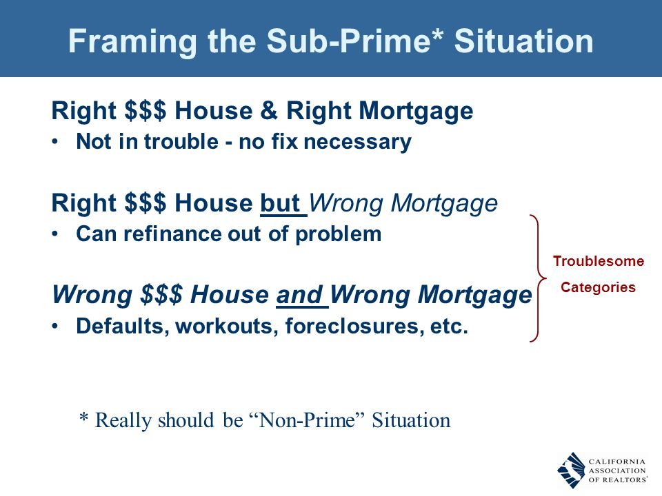 Framing the Sub-Prime* Situation Right $$$ House & Right Mortgage Not in trouble - no fix necessary Right $$$ House but Wrong Mortgage Can refinance o