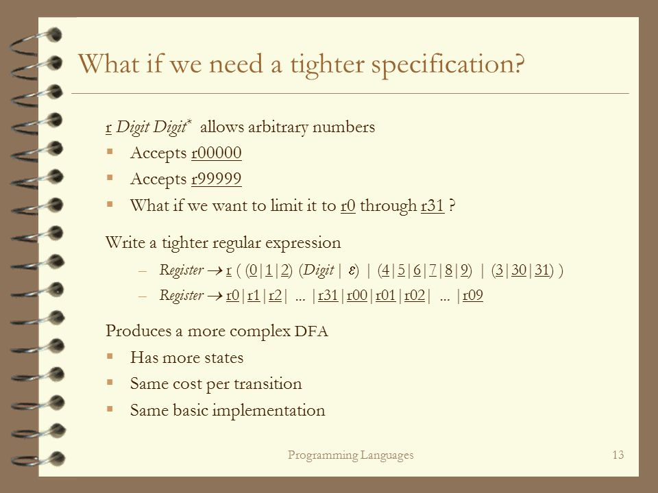 Programming Languages13 r Digit Digit * allows arbitrary numbers  Accepts r00000  Accepts r99999  What if we want to limit it to r0 through r31 .