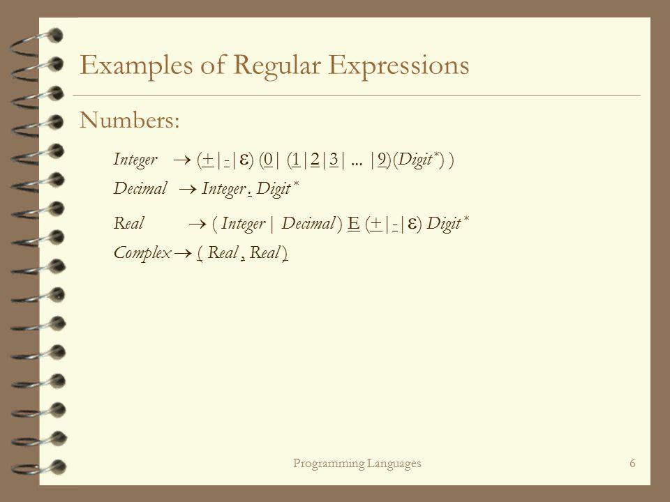 Programming Languages6 Examples of Regular Expressions Numbers: Integer  (+|-|  ) (0| (1|2|3| … |9)(Digit * ) ) Decimal  Integer.