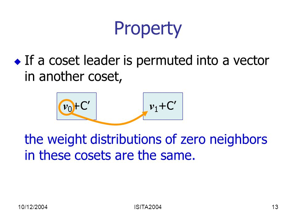 10/12/2004ISITA200413 Property  If a coset leader is permuted into a vector in another coset, the weight distributions of zero neighbors in these cosets are the same.