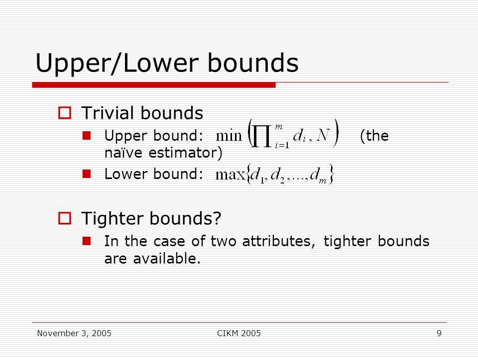 November 3, 2005CIKM 20059 Upper/Lower bounds  Trivial bounds Upper bound: (the na ï ve estimator) Lower bound:  Tighter bounds.