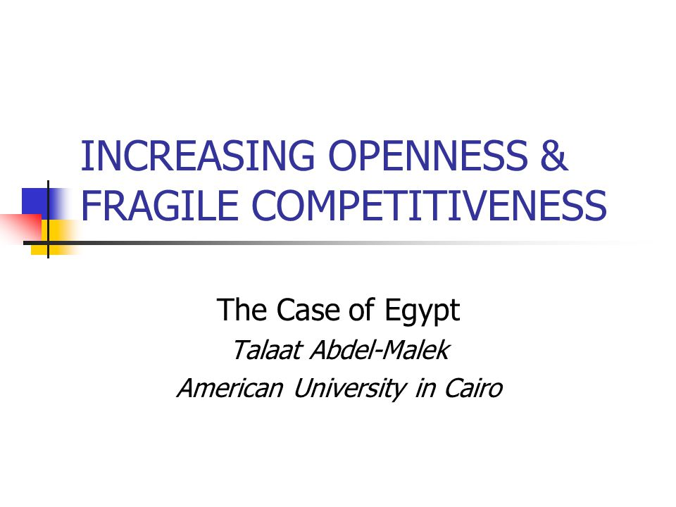 INCREASING OPENNESS & FRAGILE COMPETITIVENESS The Case of Egypt Talaat Abdel-Malek American University in Cairo