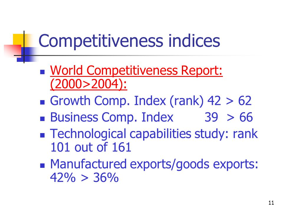 11 Competitiveness indices World Competitiveness Report: (2000>2004): Growth Comp.