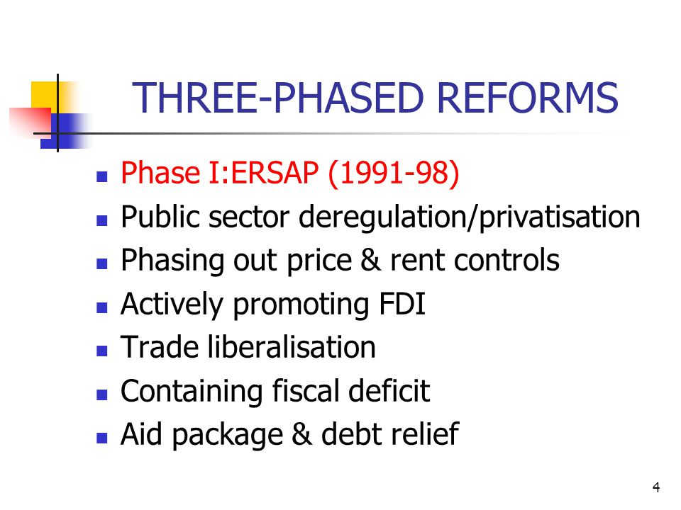 4 THREE-PHASED REFORMS Phase I:ERSAP (1991-98) Public sector deregulation/privatisation Phasing out price & rent controls Actively promoting FDI Trade liberalisation Containing fiscal deficit Aid package & debt relief