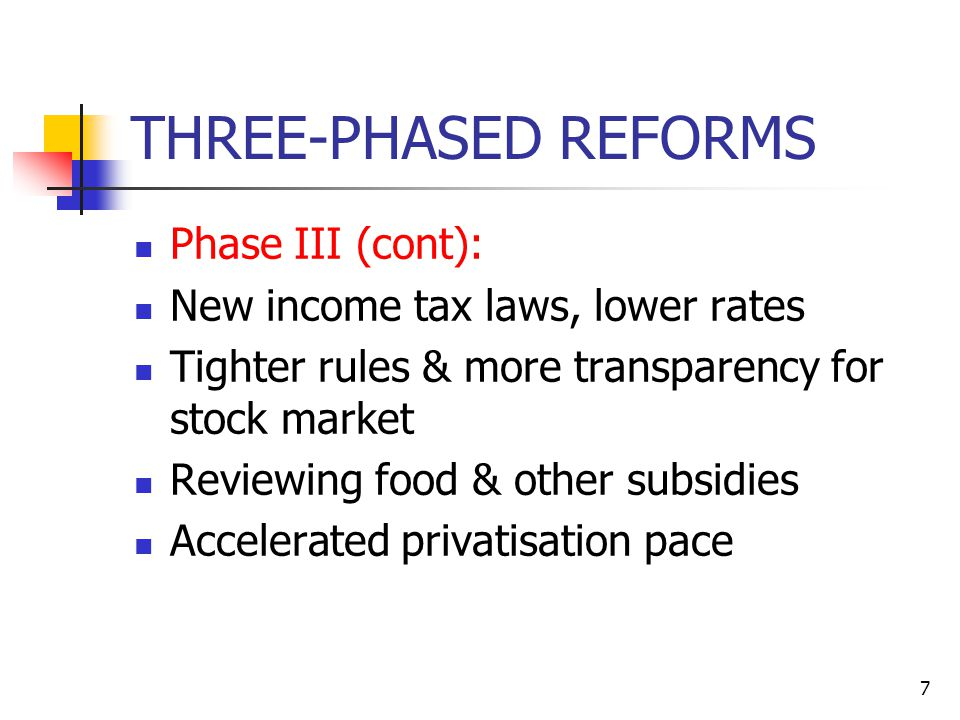 7 THREE-PHASED REFORMS Phase III (cont): New income tax laws, lower rates Tighter rules & more transparency for stock market Reviewing food & other subsidies Accelerated privatisation pace