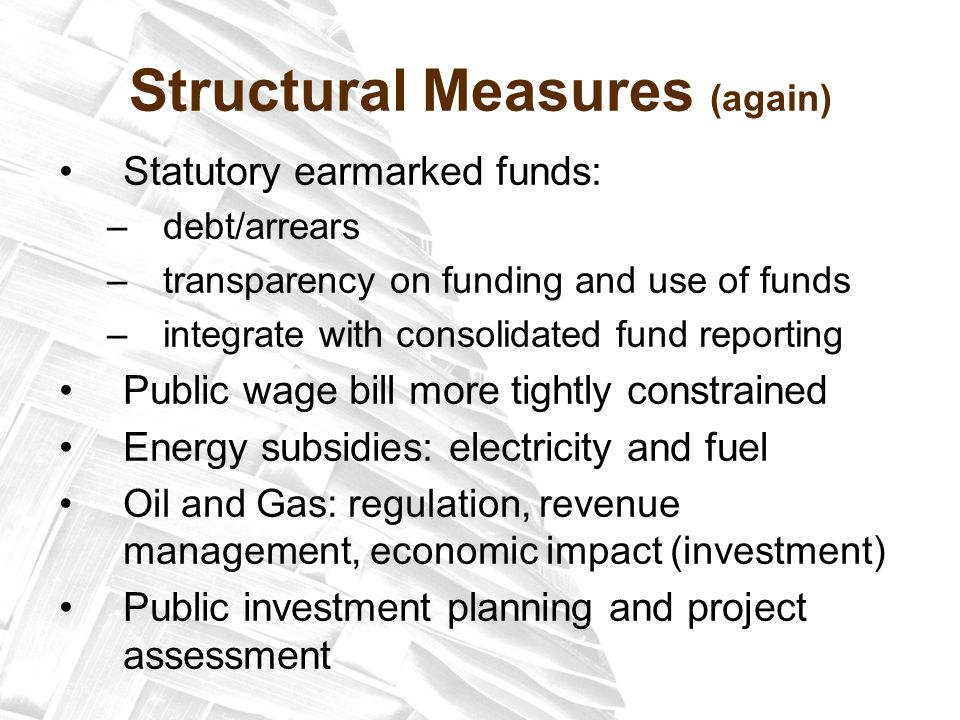 Structural Measures (again) Statutory earmarked funds: –debt/arrears –transparency on funding and use of funds –integrate with consolidated fund reporting Public wage bill more tightly constrained Energy subsidies: electricity and fuel Oil and Gas: regulation, revenue management, economic impact (investment) Public investment planning and project assessment