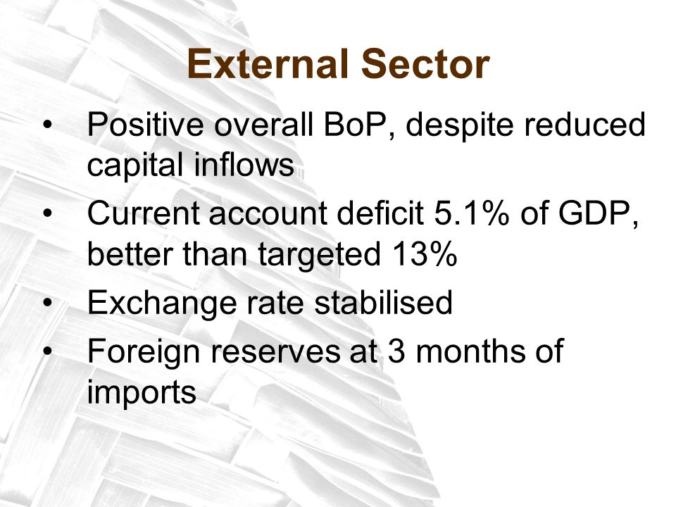 External Sector Positive overall BoP, despite reduced capital inflows Current account deficit 5.1% of GDP, better than targeted 13% Exchange rate stabilised Foreign reserves at 3 months of imports