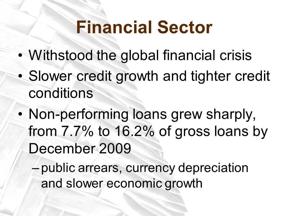 Financial Sector Withstood the global financial crisis Slower credit growth and tighter credit conditions Non-performing loans grew sharply, from 7.7% to 16.2% of gross loans by December 2009 –public arrears, currency depreciation and slower economic growth