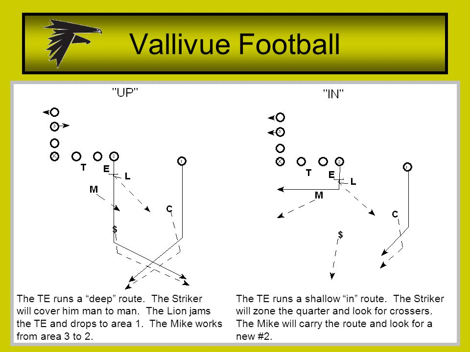 Vallivue Football The TE runs a deep route. The Striker will cover him man to man.