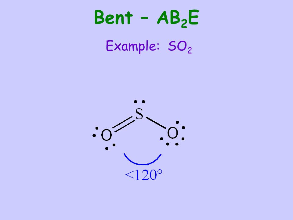 Bent – AB 2 E Example: SO 2
