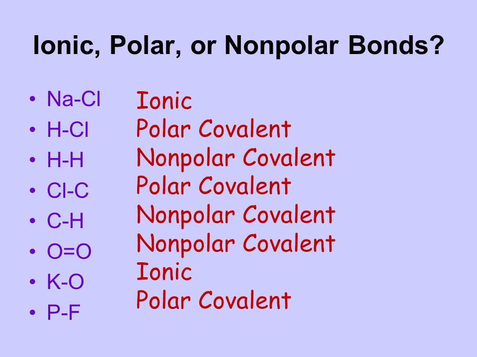 Ionic, Polar, or Nonpolar Bonds.