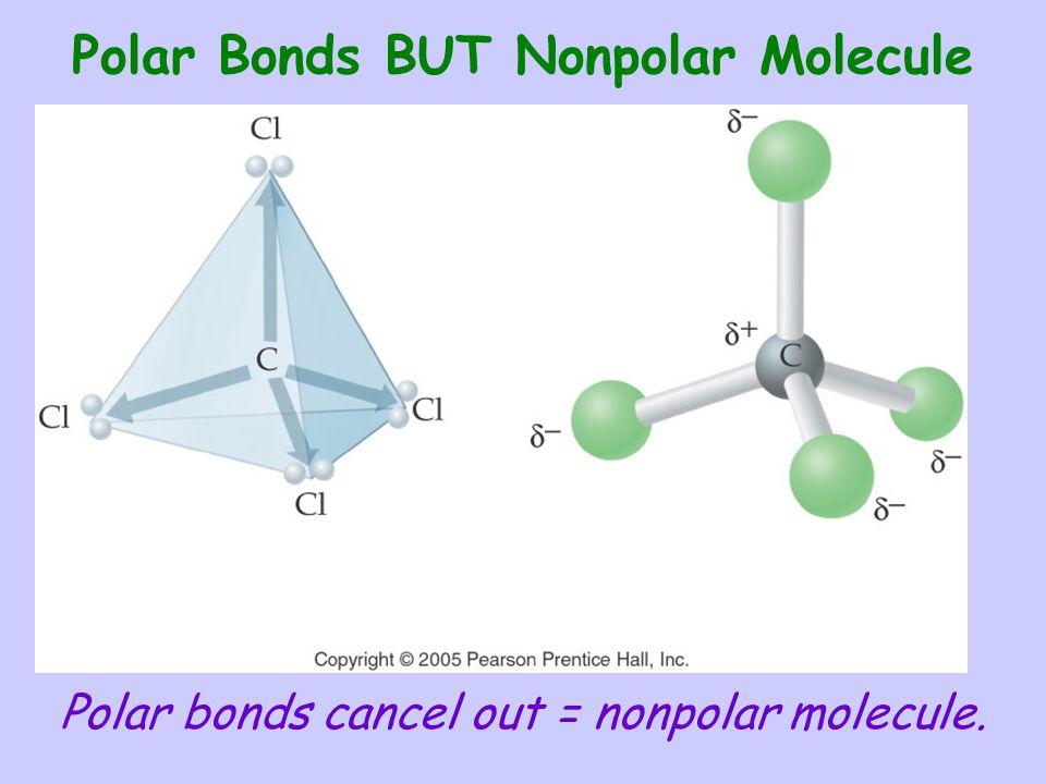 Polar Bonds BUT Nonpolar Molecule Polar bonds cancel out = nonpolar molecule.