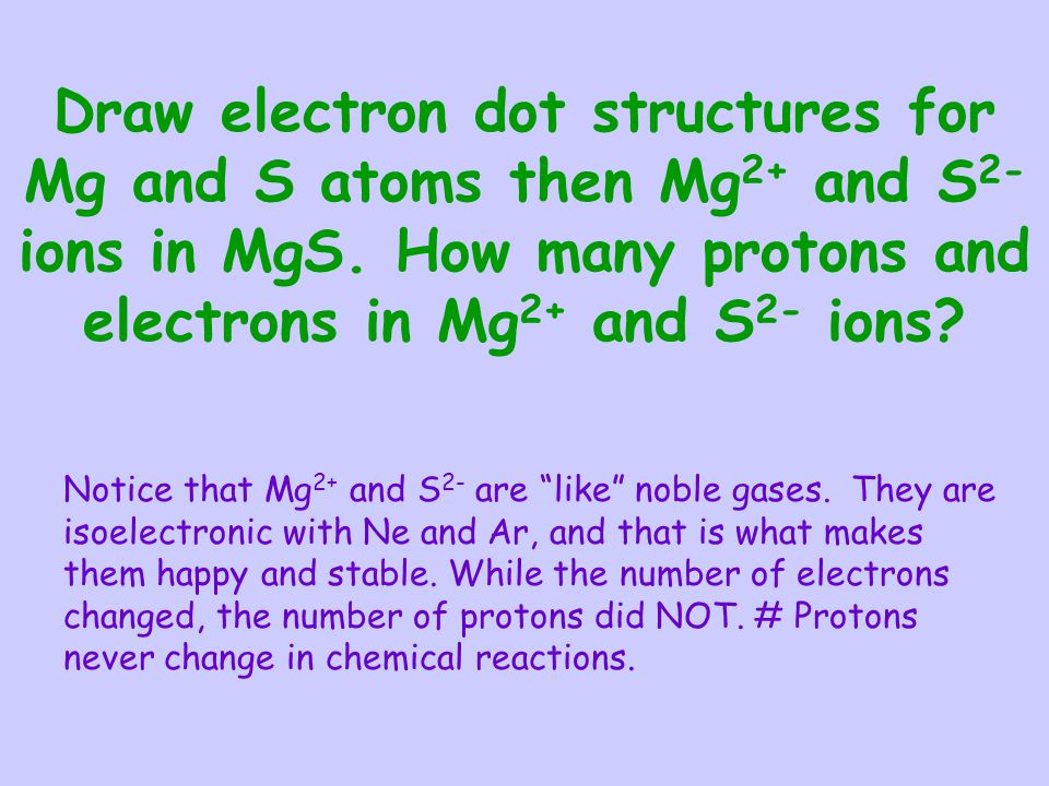 Draw electron dot structures for Mg and S atoms then Mg 2+ and S 2- ions in MgS. How many protons and electrons in Mg 2+ and S 2- ions? Notice that Mg
