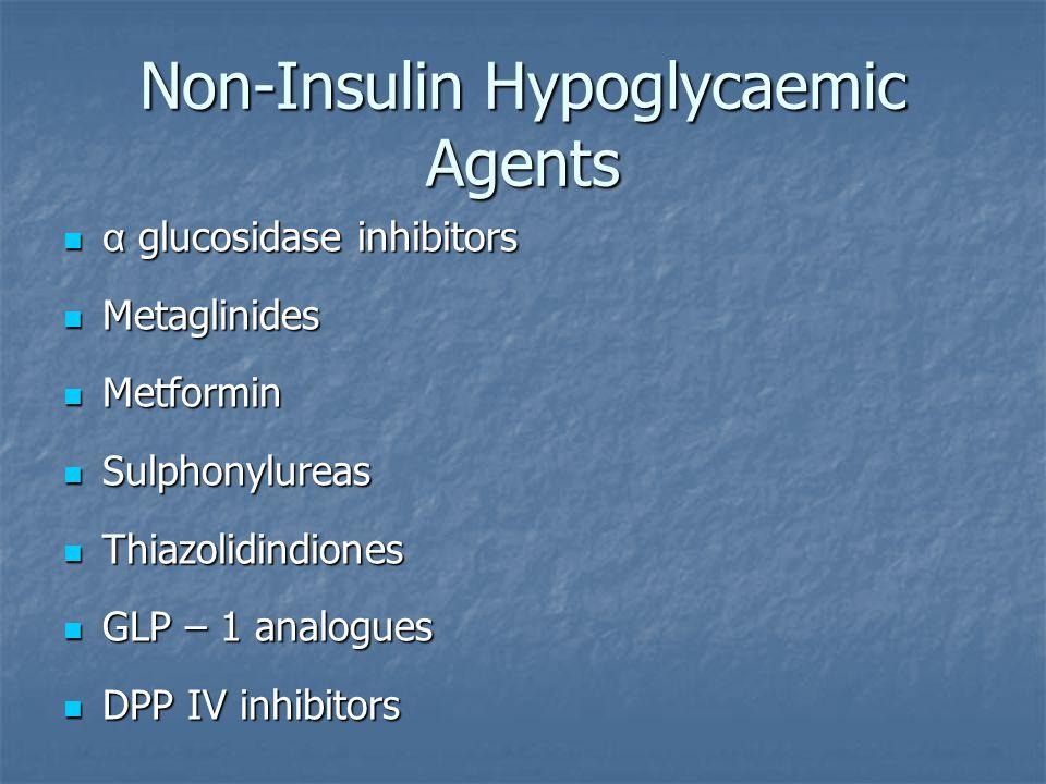 Non-Insulin Hypoglycaemic Agents α glucosidase inhibitors α glucosidase inhibitors Metaglinides Metaglinides Metformin Metformin Sulphonylureas Sulpho