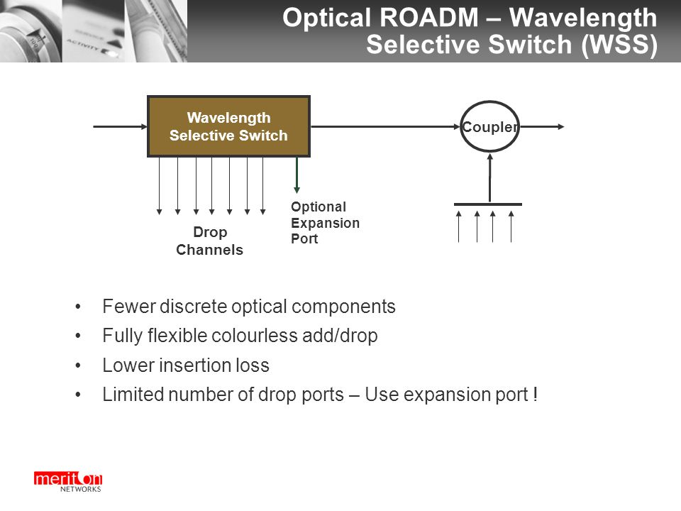 Optical ROADM – Wavelength Selective Switch (WSS) Wavelength Selective Switch Add Coupler Drop Channels Optional Expansion Port Fewer discrete optical components Fully flexible colourless add/drop Lower insertion loss Limited number of drop ports – Use expansion port !