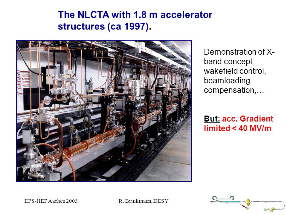EPS-HEP Aachen 2003R. Brinkmann, DESY The NLCTA with 1.8 m accelerator structures (ca 1997).