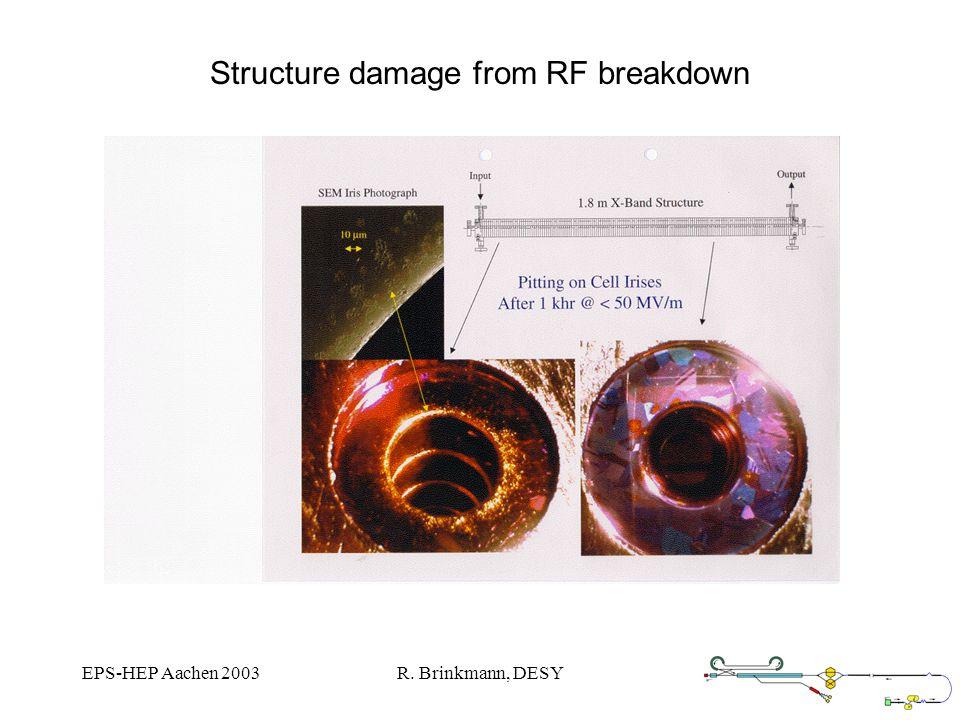EPS-HEP Aachen 2003R. Brinkmann, DESY Structure damage from RF breakdown