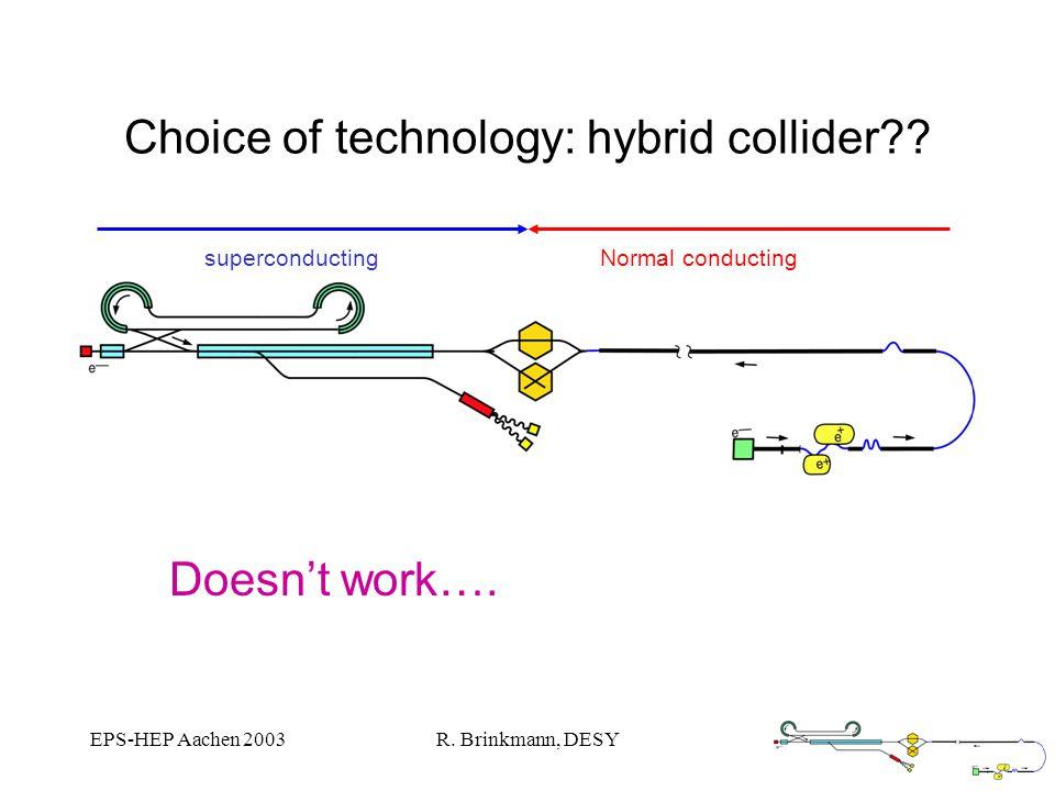 EPS-HEP Aachen 2003R. Brinkmann, DESY Choice of technology: hybrid collider?.