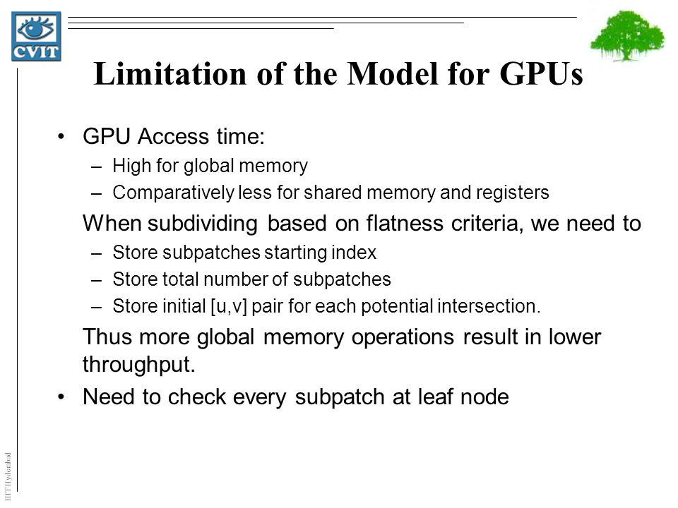 IIIT Hyderabad Limitation of the Model for GPUs GPU Access time: –High for global memory –Comparatively less for shared memory and registers When subd