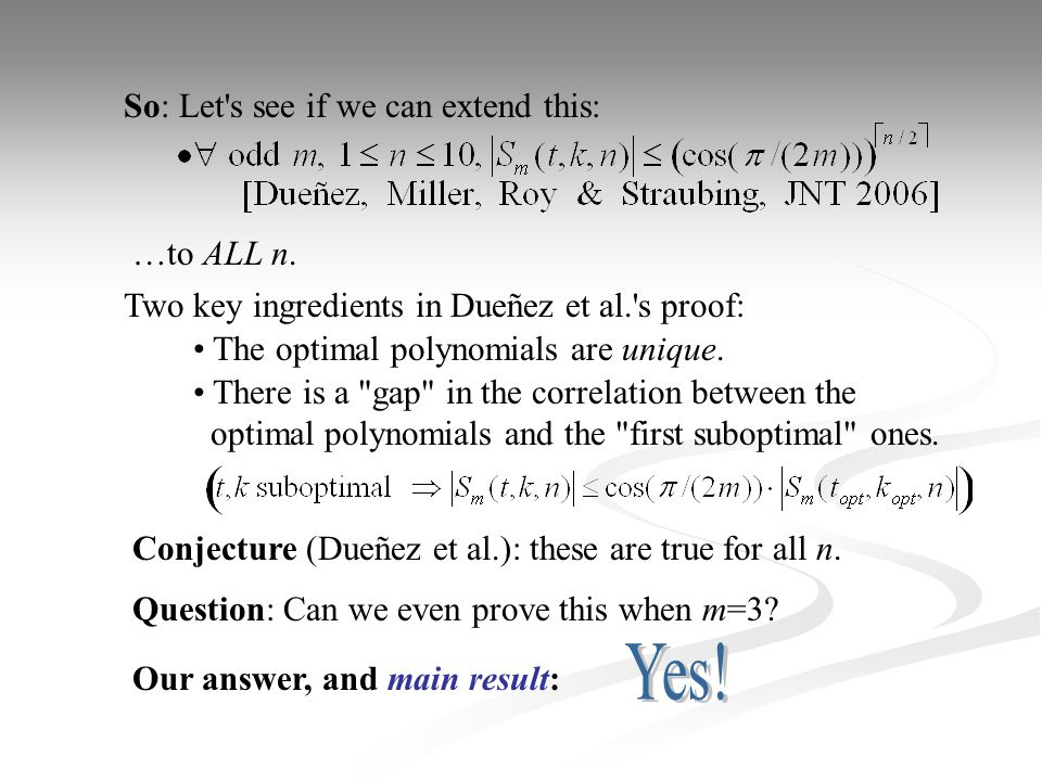 So: Let s see if we can extend this: Two key ingredients in Dueñez et al. s proof: The optimal polynomials are unique.