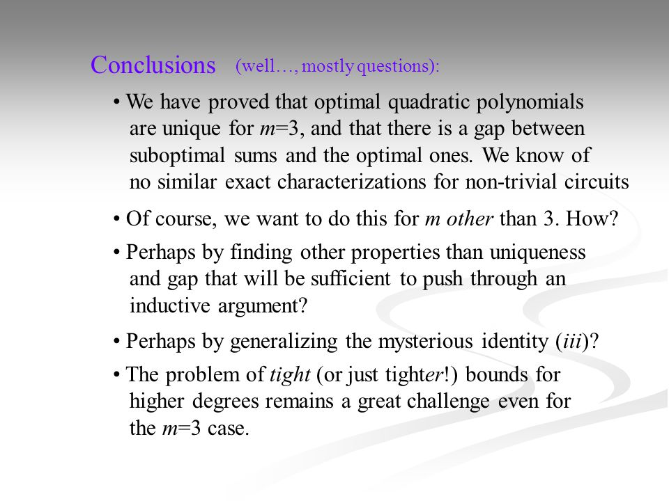 Conclusions We have proved that optimal quadratic polynomials are unique for m=3, and that there is a gap between suboptimal sums and the optimal ones