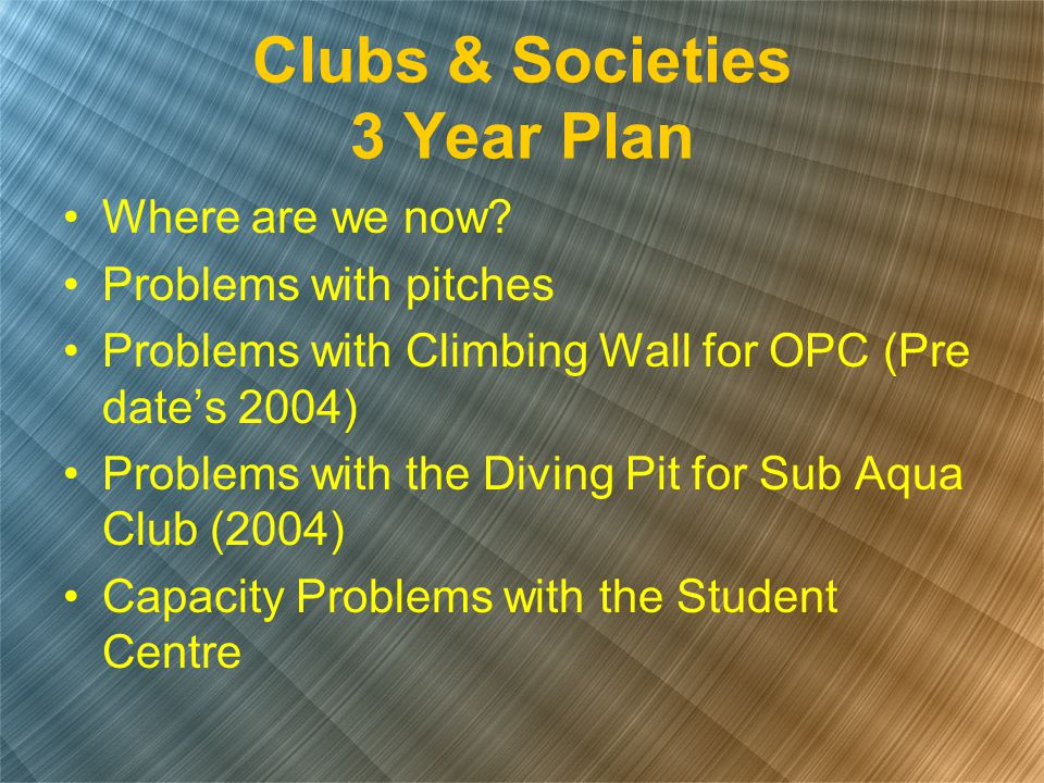 Where are we now? Problems with pitches Problems with Climbing Wall for OPC (Pre date's 2004) Problems with the Diving Pit for Sub Aqua Club (2004) Ca