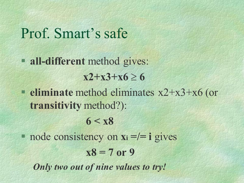 Prof. Smart's safe §all-different method gives: x2+x3+x6  6 §eliminate method eliminates x2+x3+x6 (or transitivity method?): 6 < x8 §node consistency