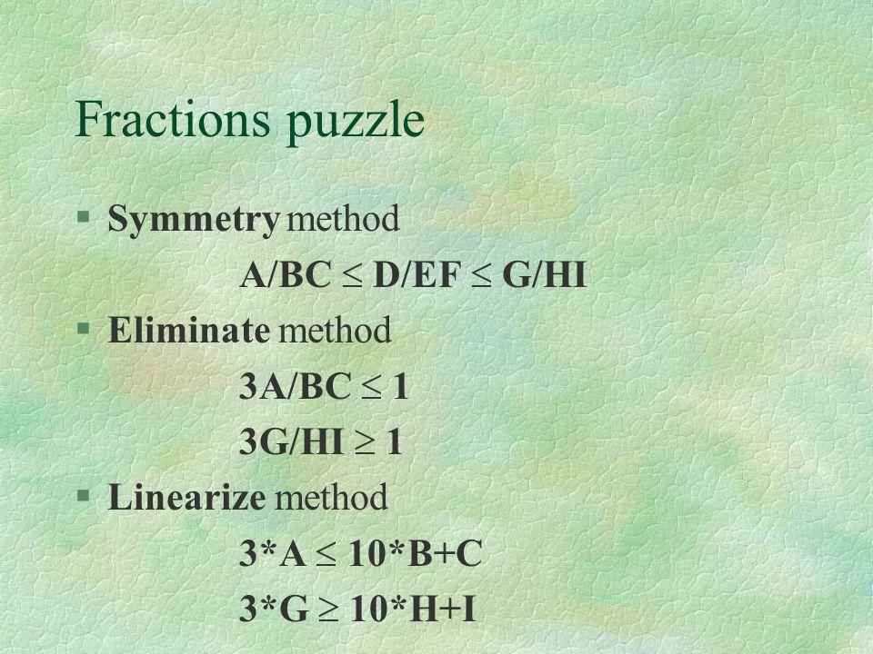 Fractions puzzle §Symmetry method A/BC  D/EF  G/HI §Eliminate method 3A/BC  1 3G/HI  1 §Linearize method 3*A  10*B+C 3*G  10*H+I
