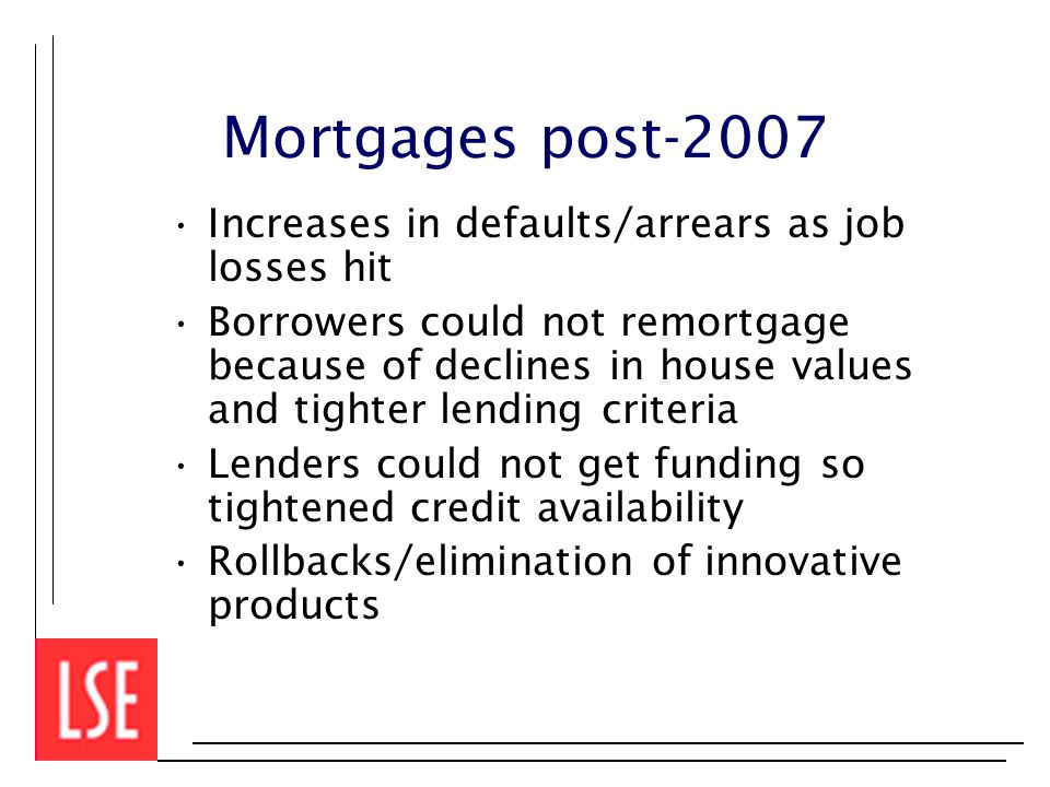 Mortgages post-2007 Increases in defaults/arrears as job losses hit Borrowers could not remortgage because of declines in house values and tighter lending criteria Lenders could not get funding so tightened credit availability Rollbacks/elimination of innovative products