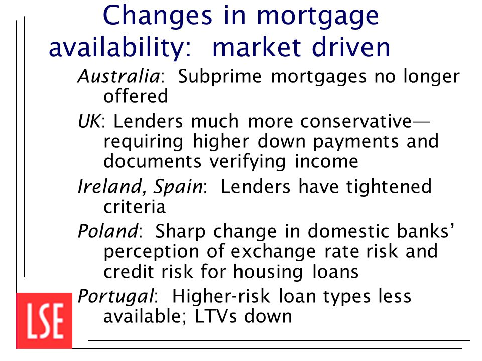 Changes in mortgage availability: market driven Australia: Subprime mortgages no longer offered UK: Lenders much more conservative— requiring higher down payments and documents verifying income Ireland, Spain: Lenders have tightened criteria Poland: Sharp change in domestic banks' perception of exchange rate risk and credit risk for housing loans Portugal: Higher-risk loan types less available; LTVs down