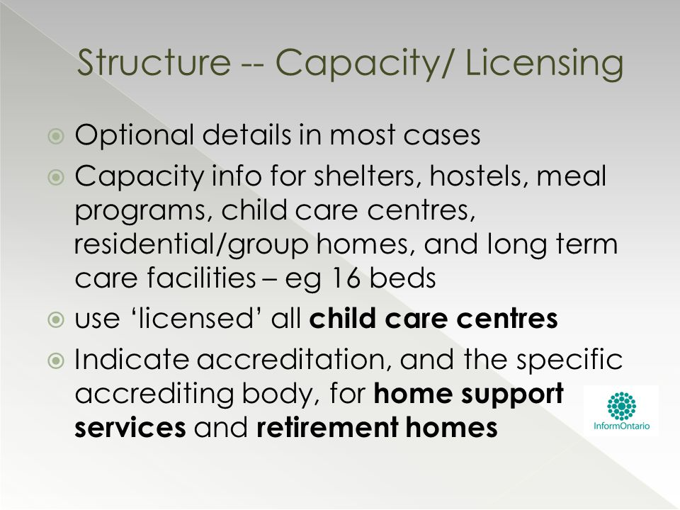  Optional details in most cases  Capacity info for shelters, hostels, meal programs, child care centres, residential/group homes, and long term care
