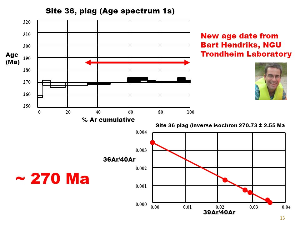 13 320 310 300 290 280 270 260 250 Age (Ma) 0 20 40 60 80 100 % Ar cumulative Site 36, plag (Age spectrum 1s) Site 36 plag (inverse isochron 270.73 ±