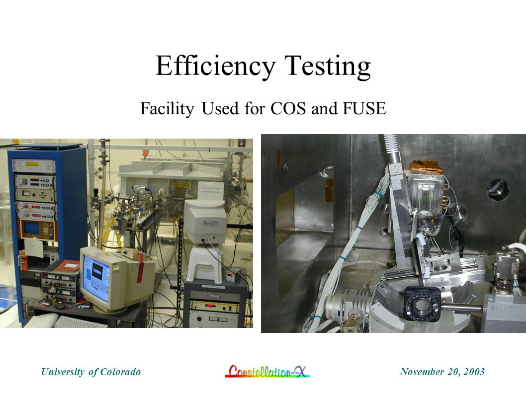November 20, 2003University of Colorado Efficiency Testing Facility Used for COS and FUSE