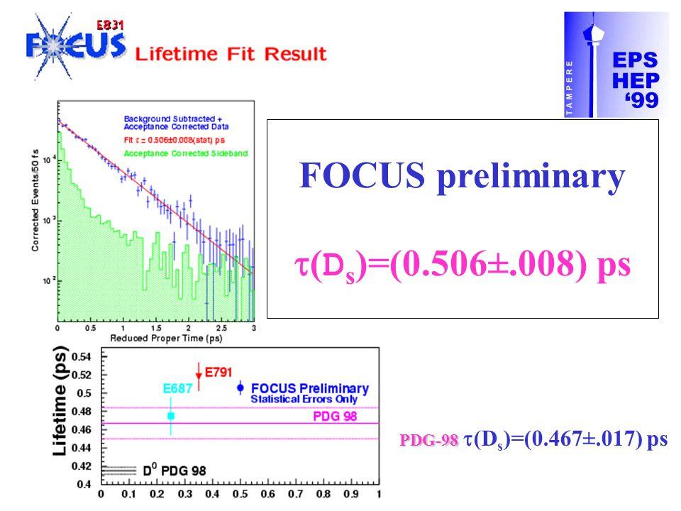 FOCUS preliminary  ( D s )=(0.506±.008) ps PDG-98 PDG-98  (D s )=(0.467±.017) ps