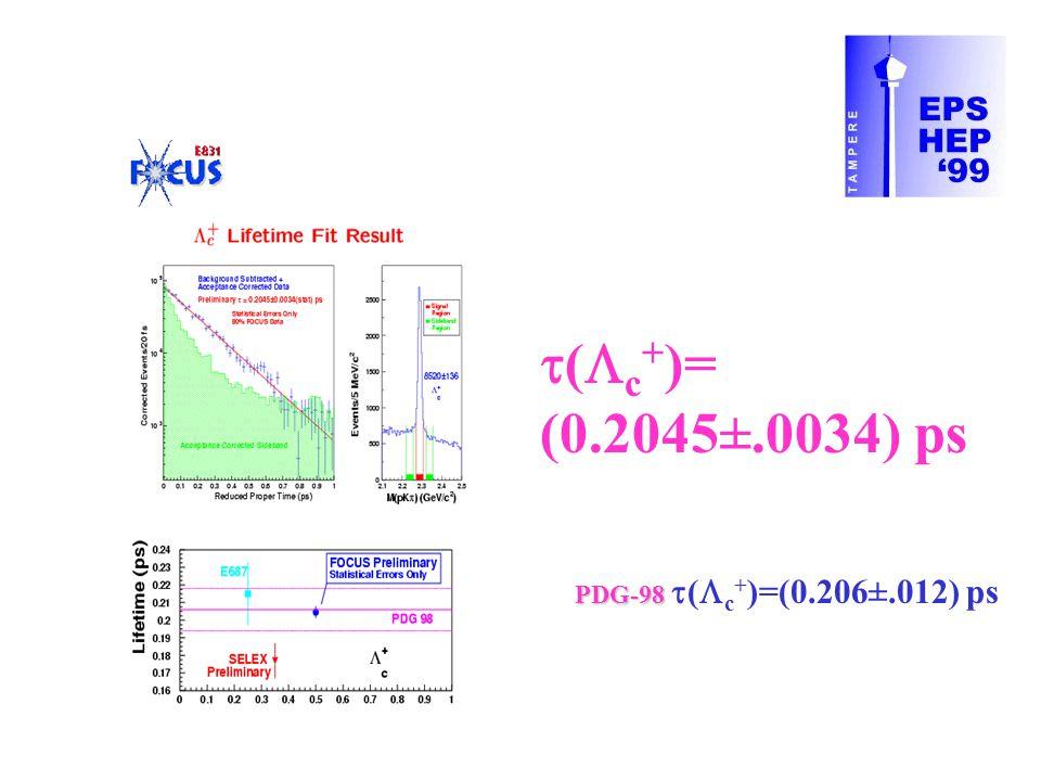  (  c + )= (0.2045±.0034) ps PDG-98 PDG-98  (  c + )=(0.206±.012) ps