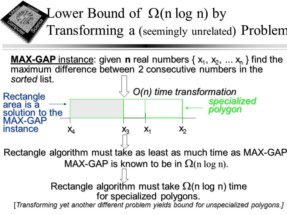 Lower Bound of  (n log n) by Transforming a ( seemingly unrelated ) Problem MAX-GAP instance: given n real numbers { x 1, x 2,... x n } find the maxi
