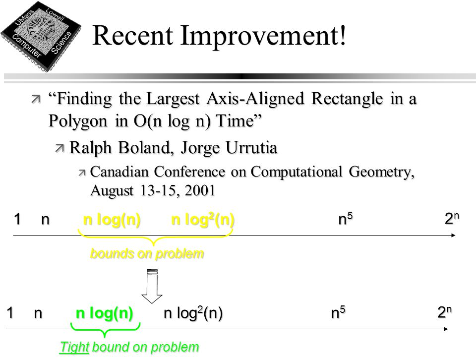"Recent Improvement! ä ""Finding the Largest Axis-Aligned Rectangle in a Polygon in O(n log n) Time"" ä Ralph Boland, Jorge Urrutia ä Canadian Conference"