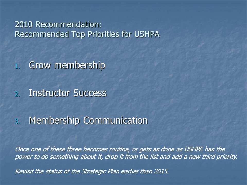 2010 Recommendation: Recommended Top Priorities for USHPA 1.