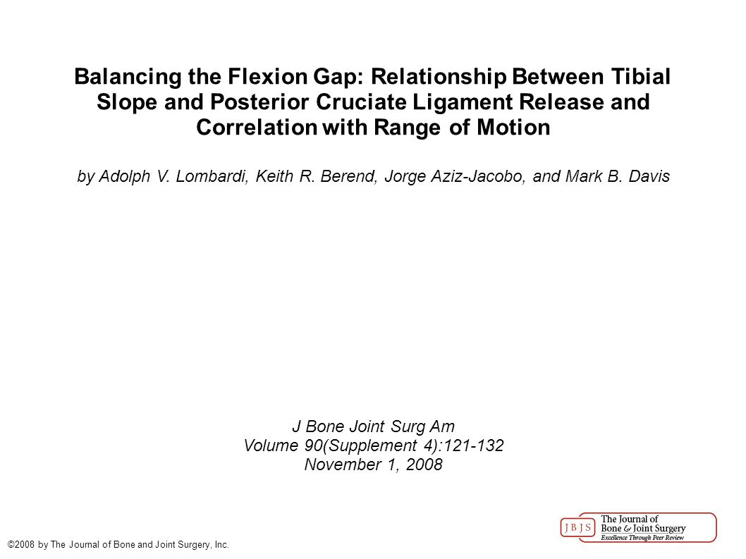Balancing the Flexion Gap: Relationship Between Tibial Slope and Posterior Cruciate Ligament Release and Correlation with Range of Motion by Adolph V.