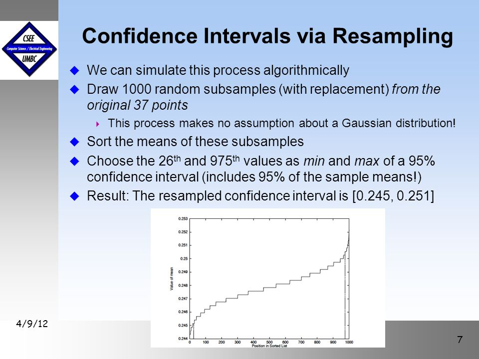 Confidence Intervals via Resampling u We can simulate this process algorithmically u Draw 1000 random subsamples (with replacement) from the original
