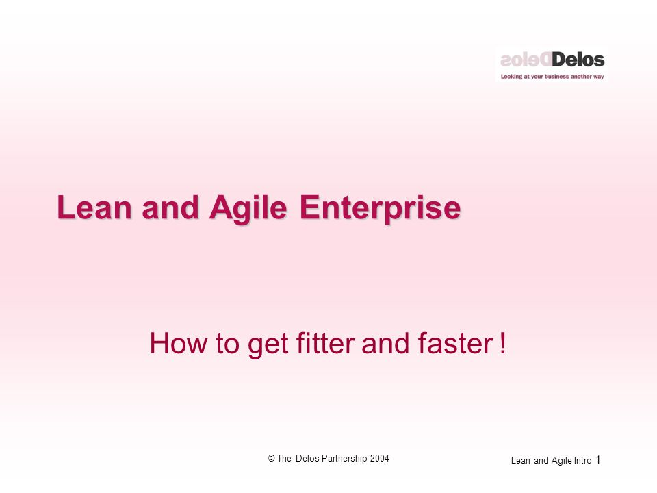 Lean and Agile Intro 1 © The Delos Partnership 2004 Lean and Agile Enterprise How to get fitter and faster !